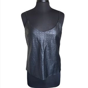 Stella Luce Faux Leather Perforated Top Size XL